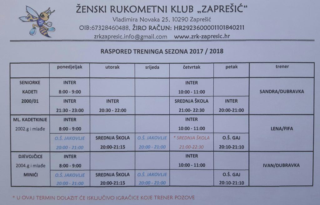 raspored treninga